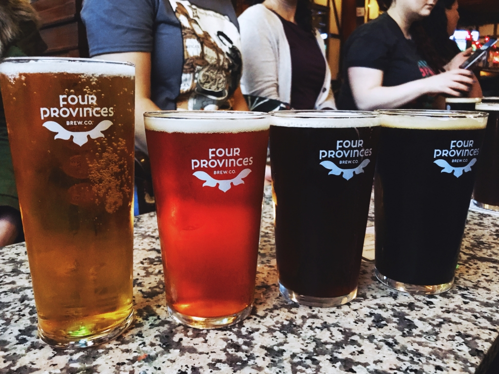 four provinces brew co. pints of beer